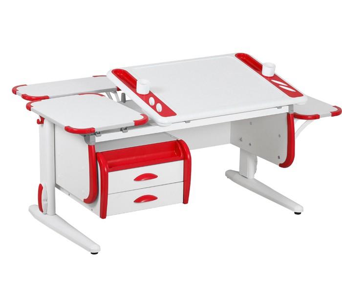 Парта Дэми White-Techno Maxi СУТ-31-05 Белый КрасныйПарты и столы<br><br>Цвет материала: Белый; Цвет: Красный; Бренд: Дэми; Ширина (см): 145; Глубина (см): 82; Высота (см): 53-81,5;