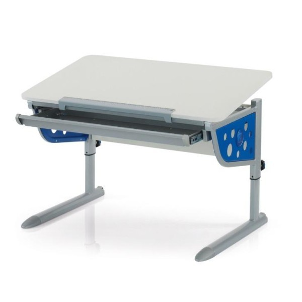 Парта Kettler Logo Plus Белый СинийПарты и столы<br><br>Цвет: Белый; Цвет боковин: Синий; Бренд: Kettler; Ширина (см): 110; Глубина (см): 68; Высота (см): 54-83;