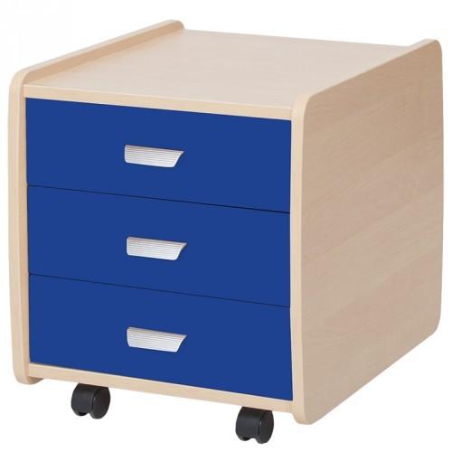 Тумба Астек 3 ящика с цветными фасадами Береза Синий