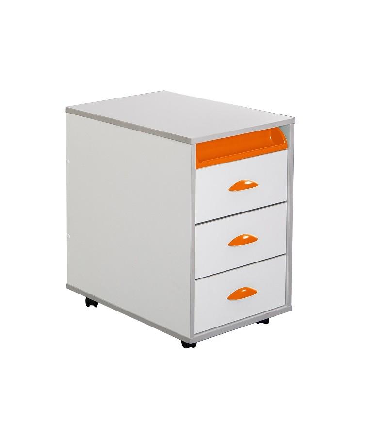 Тумба выкатная Дэми White на 3 ящика (ТУВ-02) Белый Оранжевый