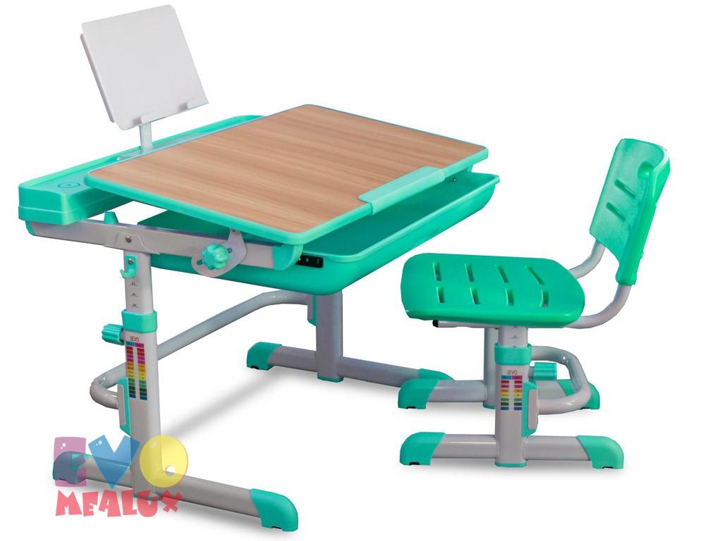 Комплект парта и стул Mealux EVO-04 XL Клен ЗеленыйПарты и столы<br><br>Цвет материала: Клен; Цвет: Зеленый; Бренд: Mealux; Ширина (см): 80; Глубина (см): 61; Высота (см): 52-76;