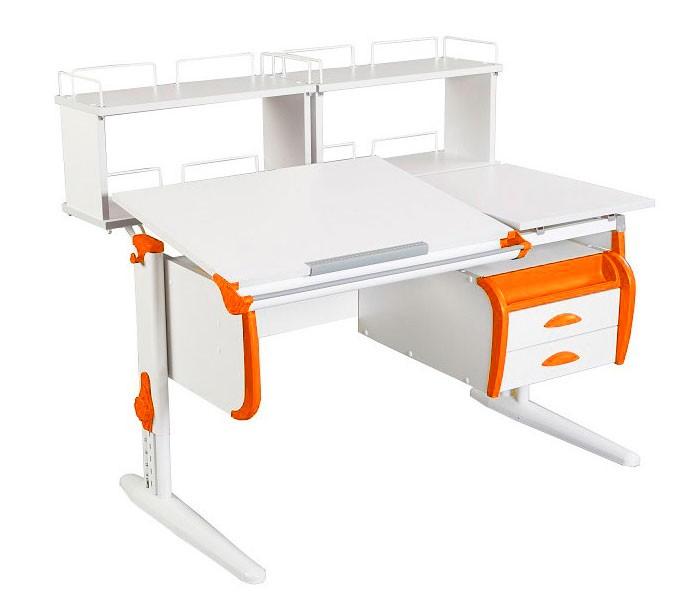 Парта Дэми СУТ-25-04Д2 White Double Белый ОранжевыйПарты и столы<br><br>Цвет материала: Белый; Цвет каркаса: Белый; Цвет: Оранжевый; Бренд: Дэми; Ширина (см): 120; Глубина (см): 80; Высота (см): 53-81,5;