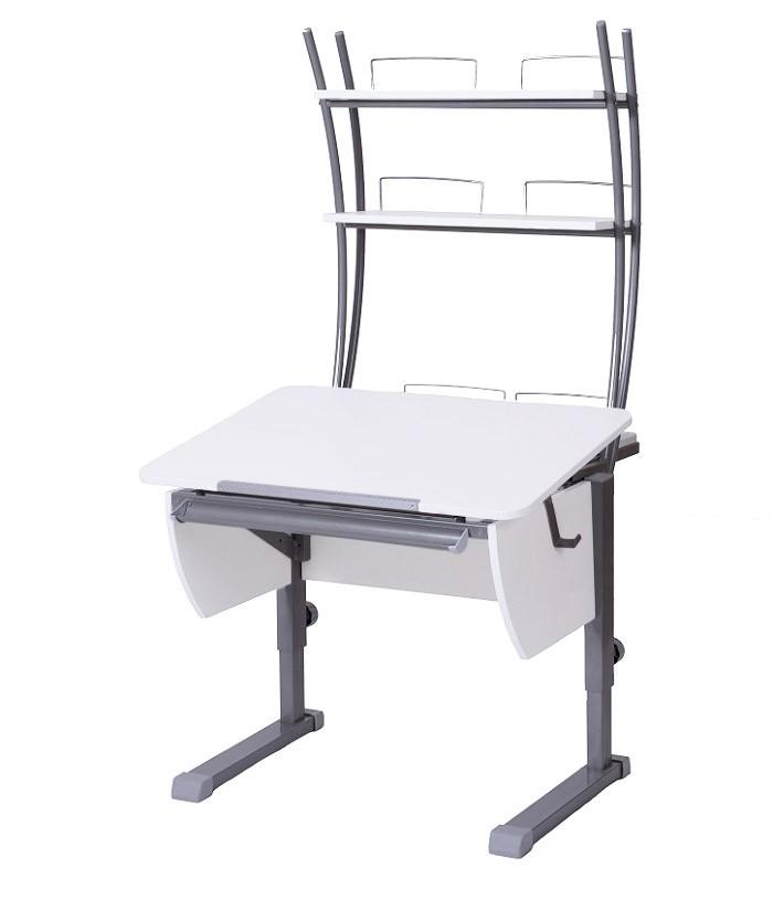 Парта Астек Колибри с надстройкой Белый СерыйПарты и столы<br><br>Цвет материала: Белый; Цвет каркаса: Серый; Бренд: Астек; Ширина (см): 80; Глубина (см): 85; Высота (см): 53-78;