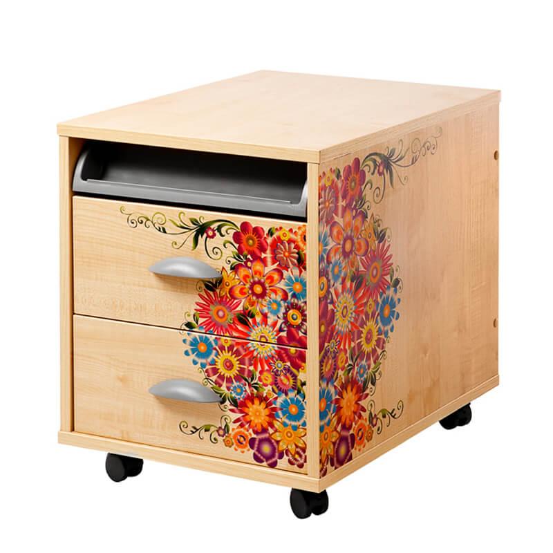 Тумба выкатная Дэми на 2 ящика (ТУВ-01) Цветы КленТумбы, стеллажи<br><br>Цвет материала: Цветы; Цвет: Клен; Бренд: Дэми; Ширина (см): 42,6; Глубина (см): 57; Высота (см): 45,2;