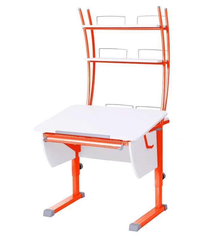 Парта Астек Колибри с надстройкой Белый ОранжевыйПарты и столы<br><br>Цвет материала: Белый; Цвет каркаса: Оранжевый; Бренд: Астек; Ширина (см): 80; Глубина (см): 85; Высота (см): 53-78;