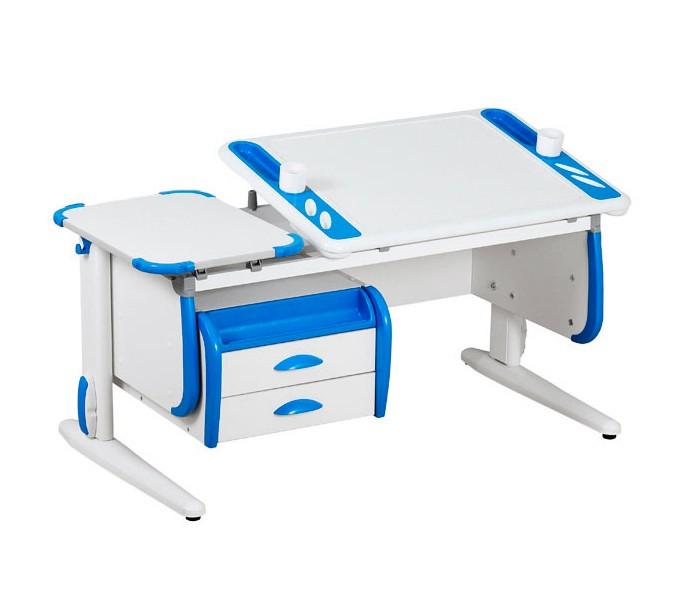 Парта Дэми White-Techno Maxi СУТ-31-03 Белый СинийПарты и столы<br><br>Цвет материала: Белый; Цвет: Синий; Бренд: Дэми; Ширина (см): 120; Глубина (см): 55; Высота (см): 53-81,5;