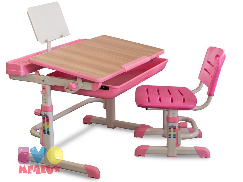 Комплект парта и стул Mealux EVO-04 Клен РозовыйПарты и столы<br><br>Цвет материала: Клен; Цвет: Розовый; Бренд: Mealux; Ширина (см): 70; Глубина (см): 52; Высота (см): 52-76;