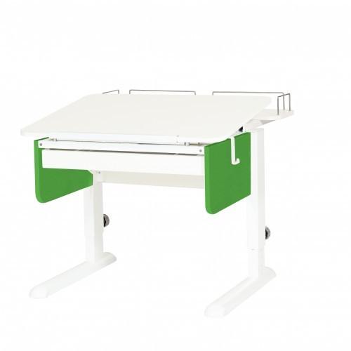 Парта Астек Юниор с ящиком и фронтальной полкой Белый Белый ЗеленыйПарты и столы<br><br>Цвет материала: Белый; Цвет каркаса: Белый; Цвет: Зеленый; Бренд: Астек; Ширина (см): 80; Глубина (см): 85; Высота (см): 53-78;