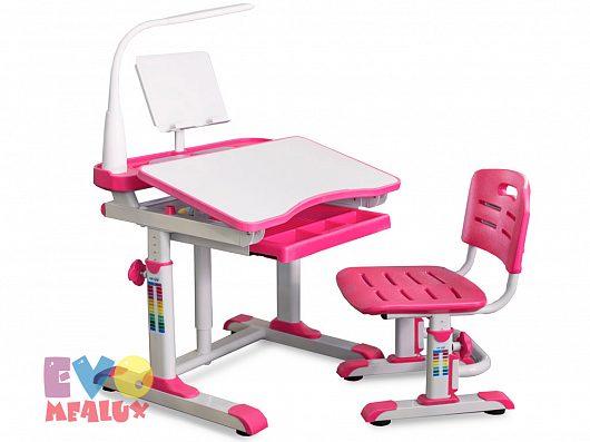 Комплект парта и стульчик Mealux EVO-09 с лампой Белый РозовыйПарты и столы<br><br>Цвет материала: Белый; Цвет: Розовый; Бренд: Mealux; Ширина (см): 70; Глубина (см): 60; Высота (см): 52-78;