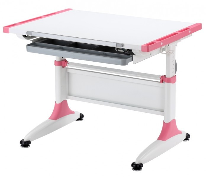 Парта-трансформер KidsMaster K-1 Durer (Дюрер) desk Белый РозовыйПарты и столы<br><br>Цвет материала: Белый; Цвет: Розовый; Бренд: KidsMaster; Ширина (см): 86; Глубина (см): 60; Высота (см): 53-77;