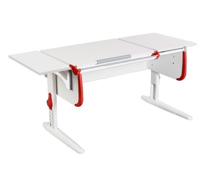 Парта Дэми СУТ-25К White Double Белый КрасныйПарты и столы<br><br>Цвет материала: Белый; Цвет каркаса: Белый; Цвет: Красный; Бренд: Дэми; Ширина (см): 145; Глубина (см): 55; Высота (см): 53-81,5;