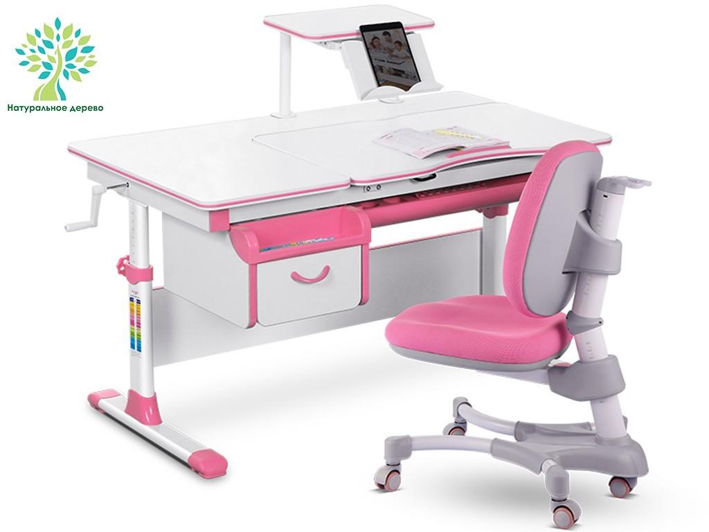 Комплект парта и кресло Mealux EVO-40 (дерево) Белый Розовый