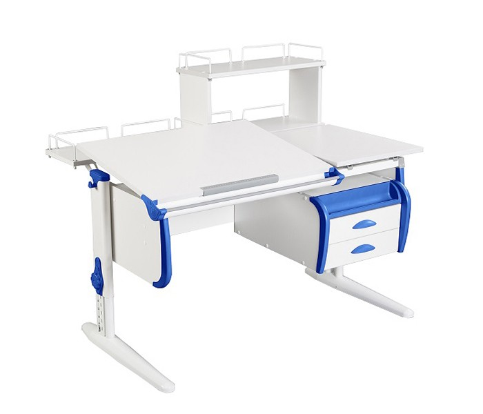 Парта Дэми СУТ-25-04Д White Double Белый СинийПарты и столы<br><br>Цвет материала: Белый; Цвет каркаса: Белый; Цвет: Синий; Бренд: Дэми; Ширина (см): 120; Глубина (см): 80; Высота (см): 53-81,5;