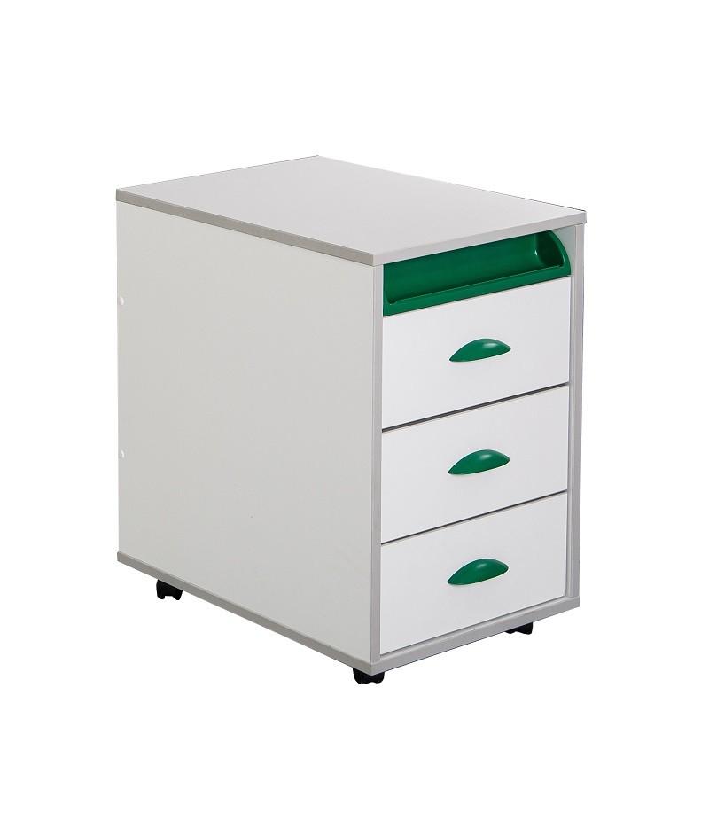 Тумба выкатная Дэми White на 3 ящика (ТУВ-02) Белый ЗеленыйТумбы, стеллажи<br><br>Цвет материала: Белый; Цвет: Зеленый; Бренд: Дэми; Ширина (см): 42.6; Глубина (см): 57; Высота (см): 62;
