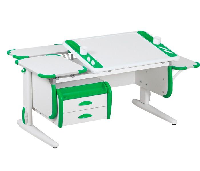 Парта Дэми White-Techno Maxi СУТ-31-05 Белый ЗеленыйПарты и столы<br><br>Цвет материала: Белый; Цвет: Зеленый; Бренд: Дэми; Ширина (см): 145; Глубина (см): 82; Высота (см): 53-81,5;