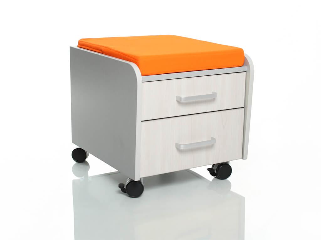 Тумбочка Comf-Pro BD-C2 с подушкой Дуб беленый Оранжевый