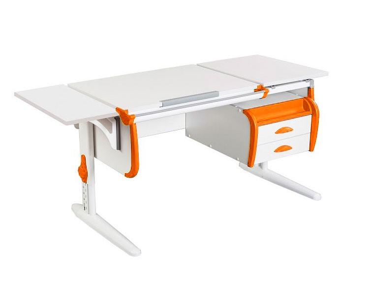 Парта Дэми СУТ-25-03К White Double Белый ОранжевыйПарты и столы<br><br>Цвет материала: Белый; Цвет каркаса: Белый; Цвет: Оранжевый; Бренд: Дэми; Ширина (см): 145; Глубина (см): 55; Высота (см): 53-81,5;