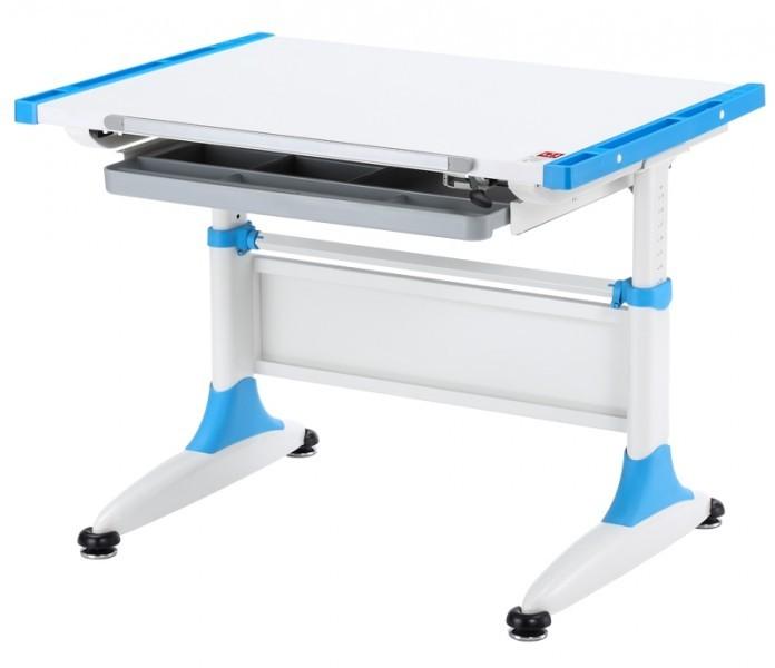 Парта-трансформер KidsMaster K-1 Durer (Дюрер) desk Белый ГолубойПарты и столы<br><br>Цвет материала: Белый; Цвет: Голубой; Бренд: KidsMaster; Ширина (см): 86; Глубина (см): 60; Высота (см): 53-77;