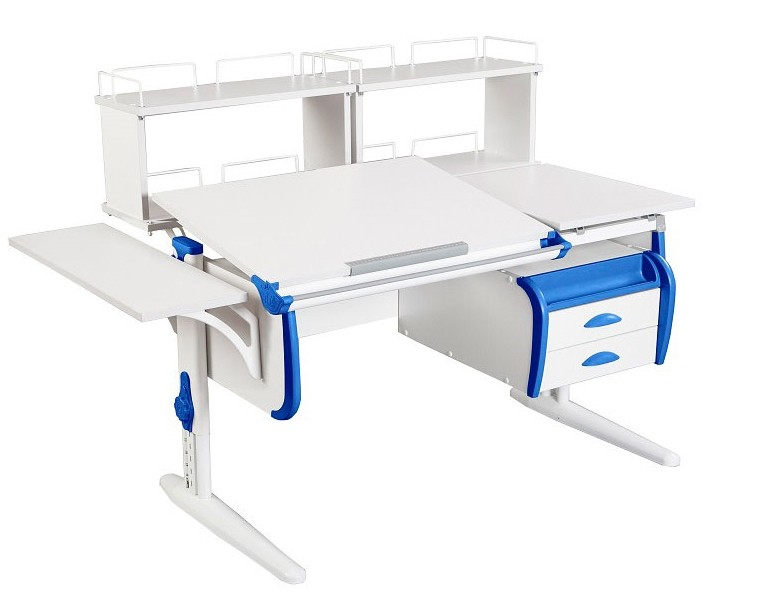 Парта Дэми СУТ-25-05Д2 White Double Белый СинийПарты и столы<br><br>Цвет материала: Белый; Цвет каркаса: Белый; Цвет: Синий; Бренд: Дэми; Ширина (см): 145; Глубина (см): 80; Высота (см): 53-81,5;
