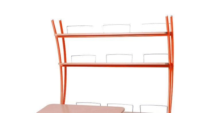 Надстройка Астек на парты Твин и Моно Бук ОранжевыйТумбы, стеллажи<br><br>Цвет материала: Бук; Цвет каркаса: Оранжевый; Бренд: Астек; Ширина (см): 96; Глубина (см): 25; Высота (см): 98;