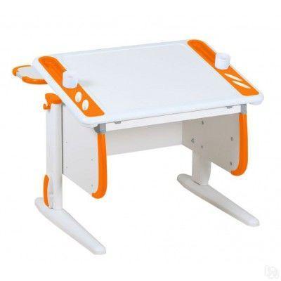Парта Дэми White-Techno Mini СУТ-26-01 Белый ОранжевыйПарты и столы<br><br>Цвет материала: Белый; Цвет: Оранжевый; Бренд: Дэми; Ширина (см): 80; Глубина (см): 80; Высота (см): 53-81,5;