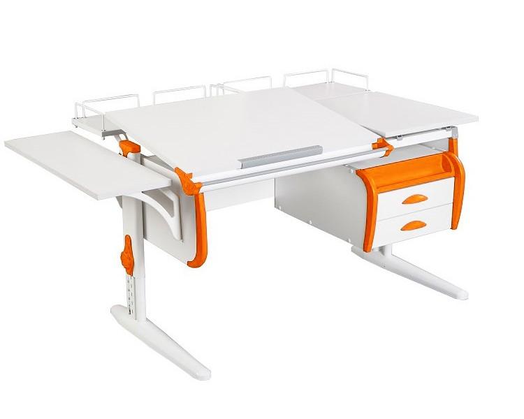 Парта Дэми СУТ-25-05 White Double Белый ОранжевыйПарты и столы<br><br>Цвет материала: Белый; Цвет каркаса: Белый; Цвет: Оранжевый; Бренд: Дэми; Ширина (см): 145; Глубина (см): 80; Высота (см): 53-81,5;