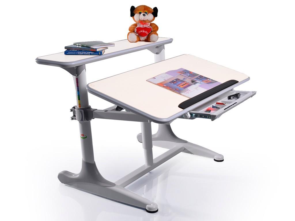 Детский стол Mealux Shubert Белый СерыйПарты и столы<br><br>Цвет материала: Белый; Цвет каркаса: Серый; Бренд: Mealux; Ширина (см): 110; Глубина (см): 79; Высота (см): 50-75;