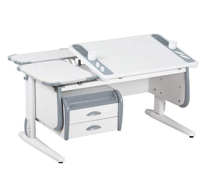 Парта Дэми White-Techno Maxi СУТ-31-04 Белый СерыйПарты и столы<br><br>Цвет материала: Белый; Цвет: Серый; Бренд: Дэми; Ширина (см): 120; Глубина (см): 82; Высота (см): 53-81,5;