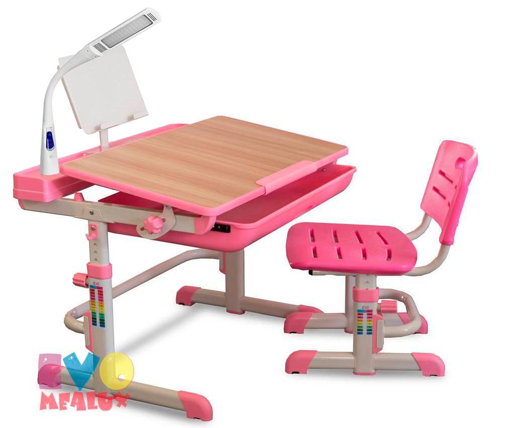 Комплект парта и стул Mealux EVO-04 XL с лампой Клен РозовыйПарты и столы<br><br>Цвет материала: Клен; Цвет: Розовый; Бренд: Mealux; Ширина (см): 80; Глубина (см): 61; Высота (см): 52-76;