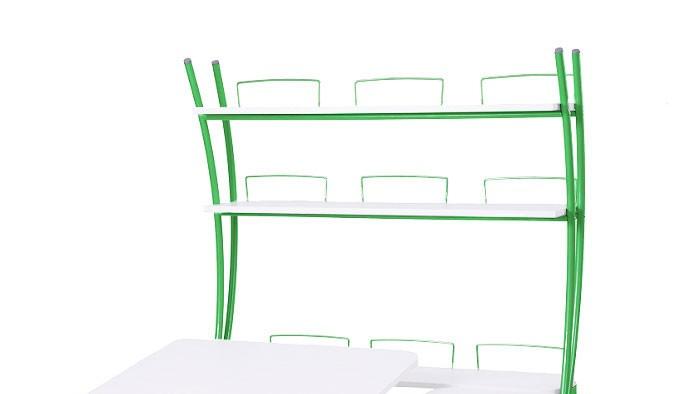 Надстройка Астек на парты Твин и Моно Белый ЗеленыйТумбы, стеллажи<br><br>Цвет материала: Белый; Цвет каркаса: Зеленый; Бренд: Астек; Ширина (см): 96; Глубина (см): 25; Высота (см): 98;