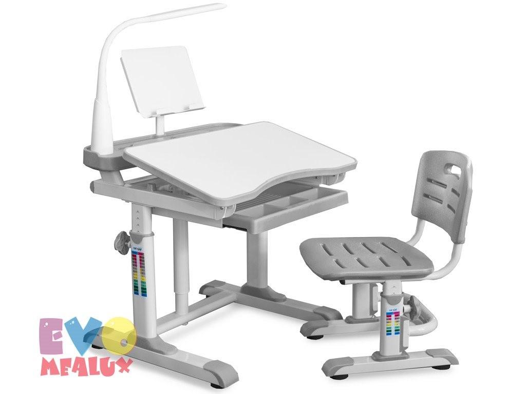 Комплект парта и стульчик Mealux EVO-09 XL с лампой Белый СерыйПарты и столы<br><br>Цвет материала: Белый; Цвет: Серый; Бренд: Mealux; Ширина (см): 80; Глубина (см): 60; Высота (см): 52-78;