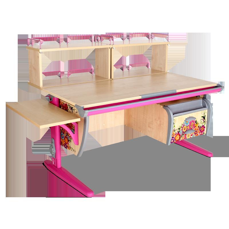 Парта Дэми СУТ-15-05Д2 Цветы РозовыйПарты и столы<br><br>Цвет материала: Цветы; Цвет каркаса: Розовый; Бренд: Дэми; Ширина (см): 145; Глубина (см): 80; Высота (см): 53-81,5;