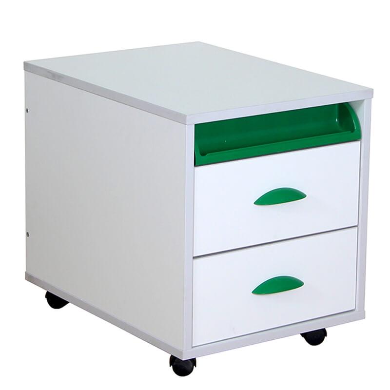 Тумба выкатная Дэми White на 2 ящика (ТУВ-01) Зеленый