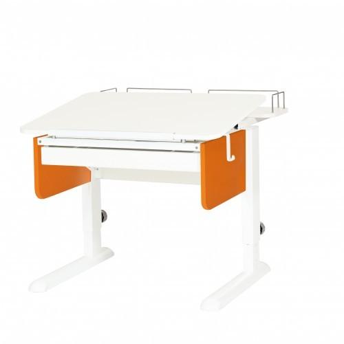 Парта Астек Юниор с ящиком и фронтальной полкой Белый Белый ОранжевыйПарты и столы<br><br>Цвет материала: Белый; Цвет каркаса: Белый; Цвет: Оранжевый; Бренд: Астек; Ширина (см): 80; Глубина (см): 85; Высота (см): 53-78;