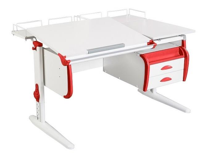Парта Дэми СУТ-25-04 White Double Белый КрасныйПарты и столы<br><br>Цвет материала: Белый; Цвет каркаса: Белый; Цвет: Красный; Бренд: Дэми; Ширина (см): 120; Глубина (см): 80; Высота (см): 53-81,5;