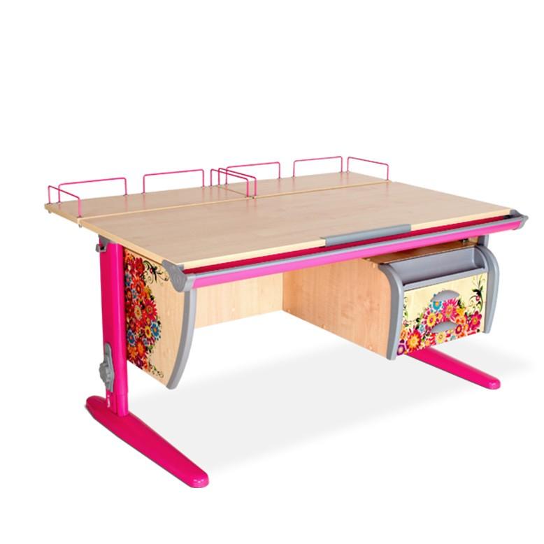 Парта Дэми СУТ-15-04 Цветы РозовыйПарты и столы<br><br>Цвет материала: Цветы; Цвет каркаса: Розовый; Бренд: Дэми; Ширина (см): 120; Глубина (см): 80; Высота (см): 53-81,5;