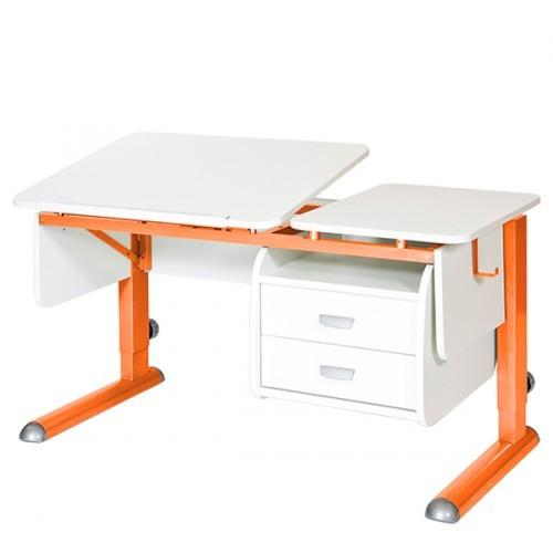 Парта Астек Твин-2 с тумбой Белый ОранжевыйПарты и столы<br><br>Цвет материала: Белый; Цвет каркаса: Оранжевый; Бренд: Астек; Ширина (см): 115; Глубина (см): 58; Высота (см): 53-78;