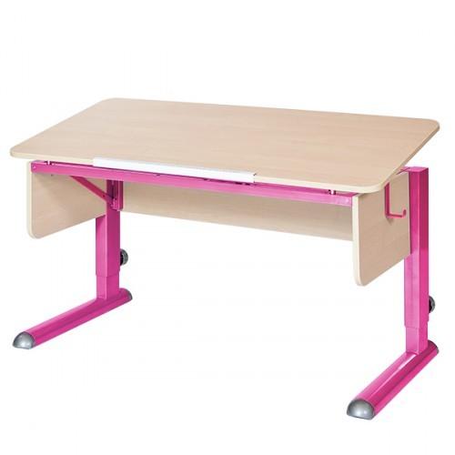 Парта Астек Моно-2 Береза РозовыйПарты и столы<br><br>Цвет материала: Береза; Цвет каркаса: Розовый; Бренд: Астек; Ширина (см): 115; Глубина (см): 58; Высота (см): 53-78;