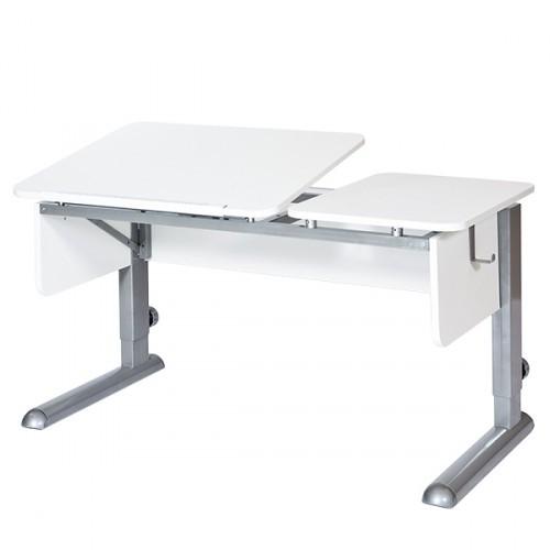 Парта Астек Твин-2 Белый СерыйПарты и столы<br><br>Цвет материала: Белый; Цвет каркаса: Серый; Бренд: Астек; Ширина (см): 115; Глубина (см): 58; Высота (см): 53-78;