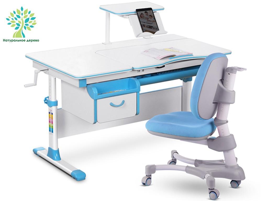Комплект парта и кресло Mealux EVO-40 (дерево) Белый Голубой