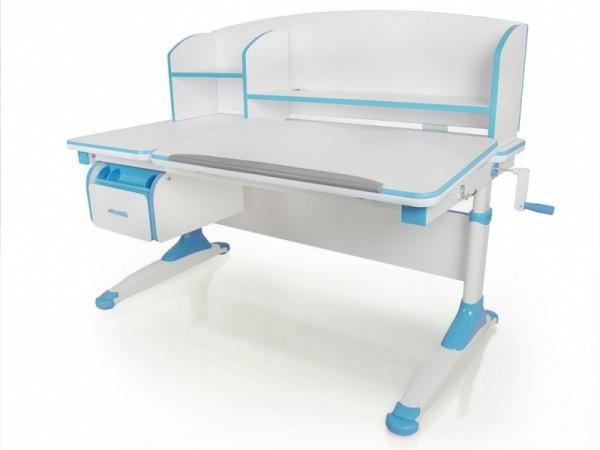 Детский стол Mealux Bruno Белый ГолубойПарты и столы<br><br>Цвет материала: Белый; Цвет: Голубой; Бренд: Mealux; Ширина (см): 120; Глубина (см): 67; Высота (см): 55-75;