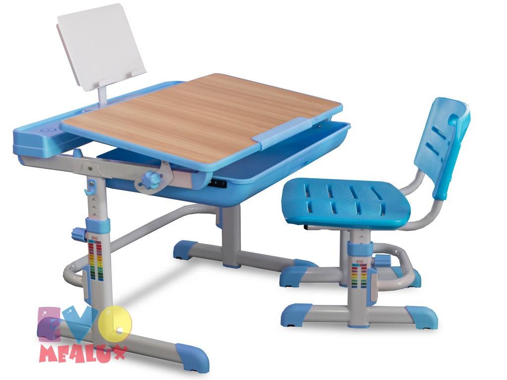 Комплект парта и стул Mealux EVO-04 Клен ГолубойПарты и столы<br><br>Цвет материала: Клен; Цвет: Голубой; Бренд: Mealux; Ширина (см): 70; Глубина (см): 52; Высота (см): 52-76;